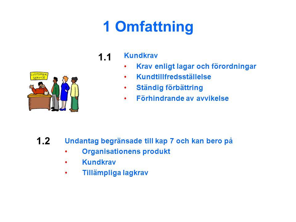 1 Omfattning 1.1 1.2 Kundkrav Krav enligt lagar och förordningar
