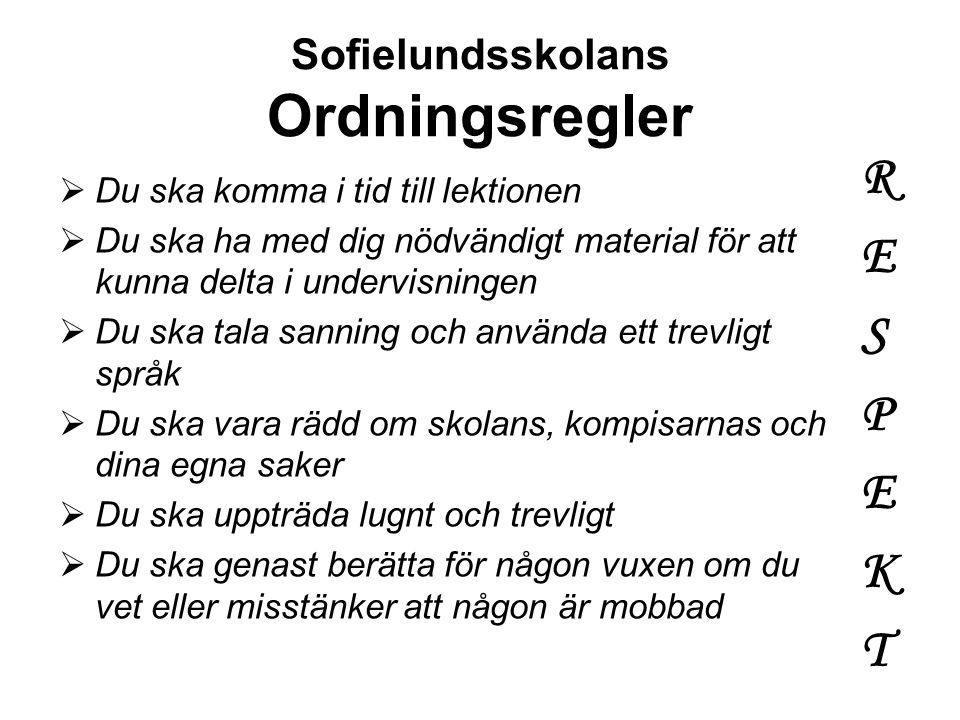 Sofielundsskolans Ordningsregler