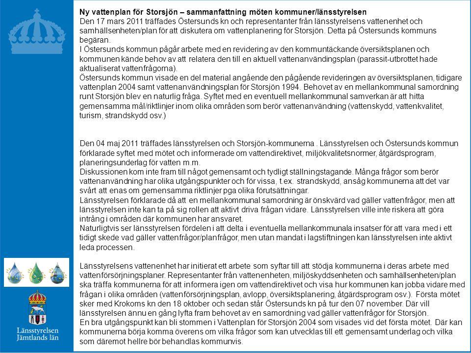 Ny vattenplan för Storsjön – sammanfattning möten kommuner/länsstyrelsen