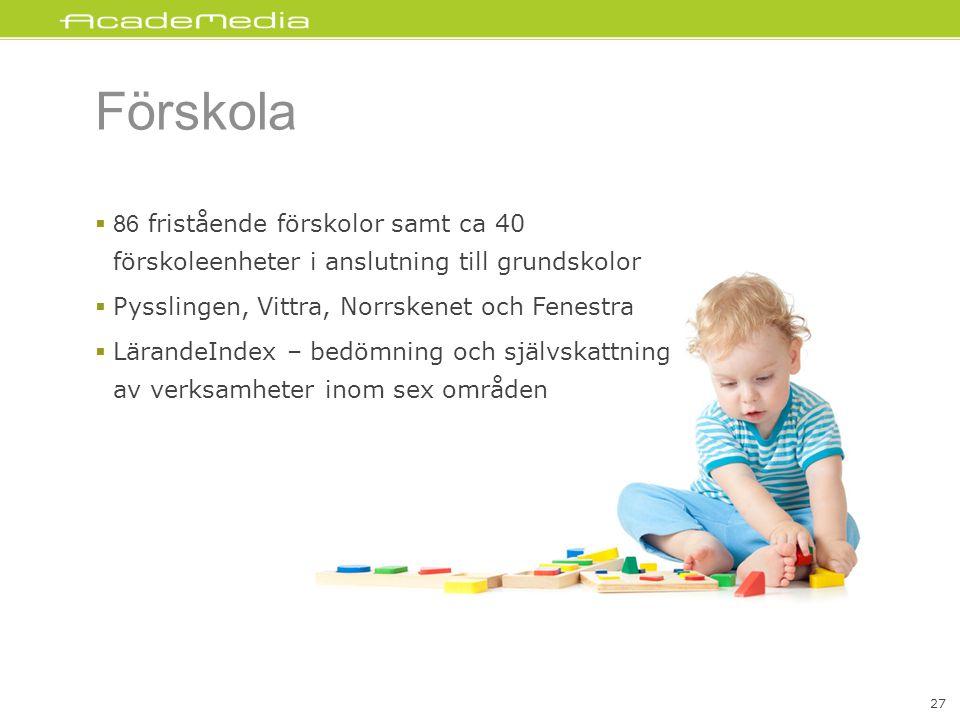 Förskola 86 fristående förskolor samt ca 40 förskoleenheter i anslutning till grundskolor. Pysslingen, Vittra, Norrskenet och Fenestra.