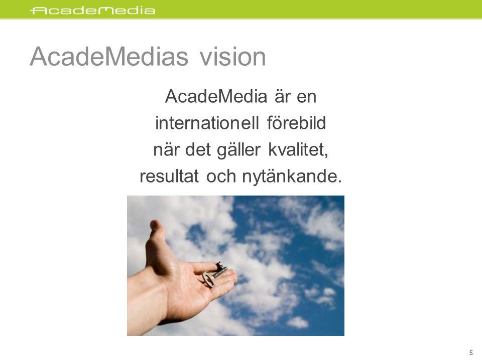 AcadeMedias vision AcadeMedia är en internationell förebild