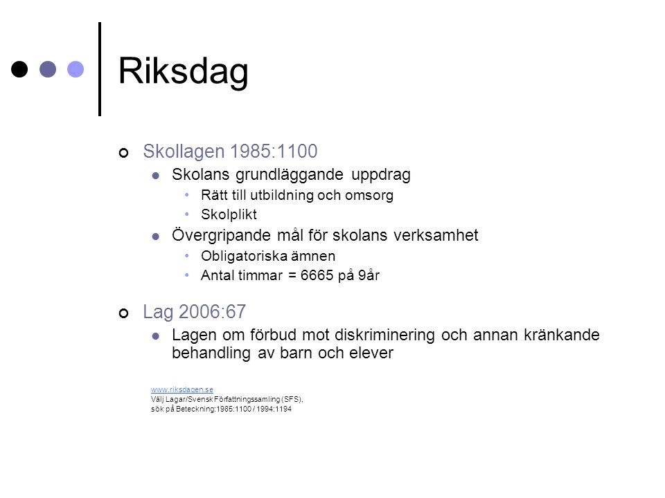 Riksdag Skollagen 1985:1100 Lag 2006:67 Skolans grundläggande uppdrag