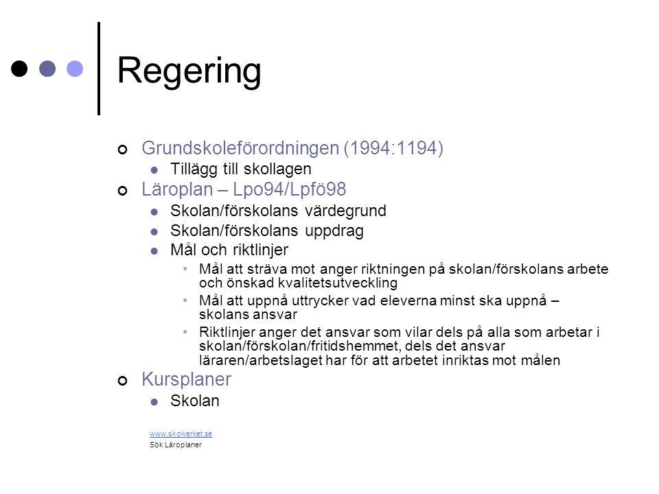 Regering Grundskoleförordningen (1994:1194) Läroplan – Lpo94/Lpfö98