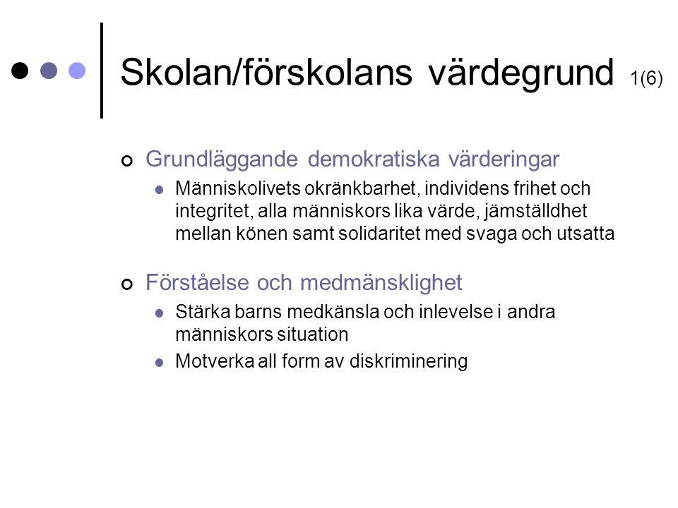 Skolan/förskolans värdegrund 1(6)
