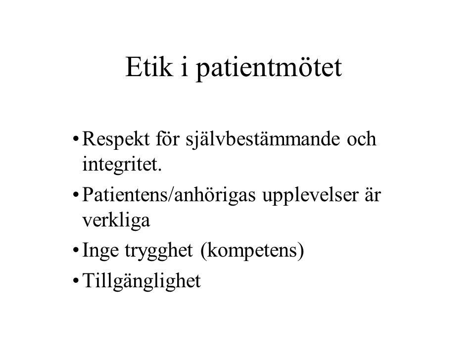 Etik i patientmötet Respekt för självbestämmande och integritet.