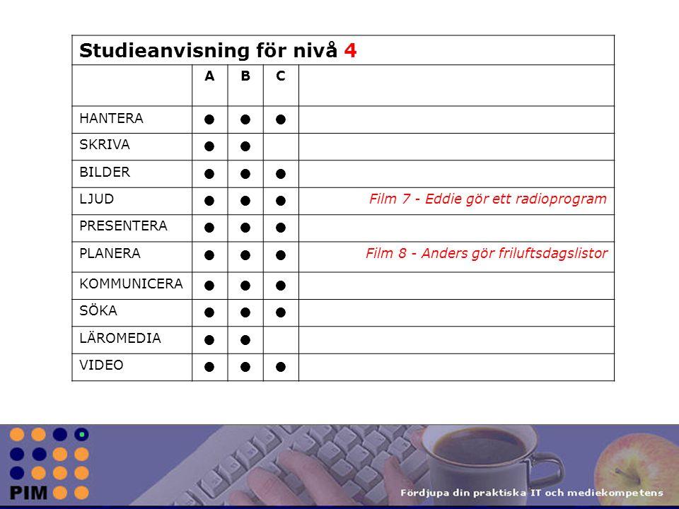Studieanvisning för nivå 4