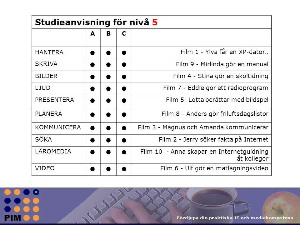 Studieanvisning för nivå 5