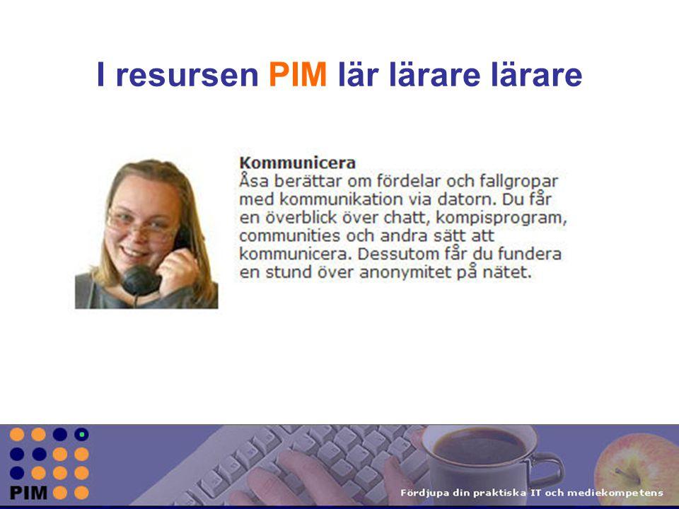I resursen PIM lär lärare lärare