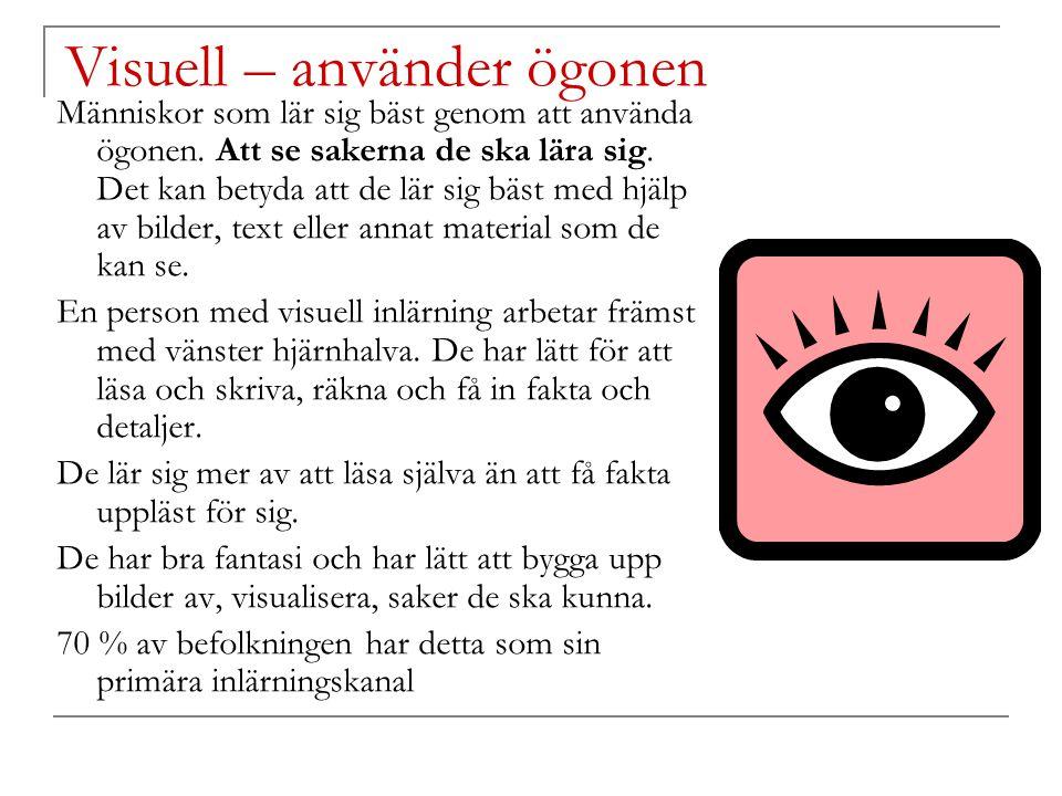 Visuell – använder ögonen