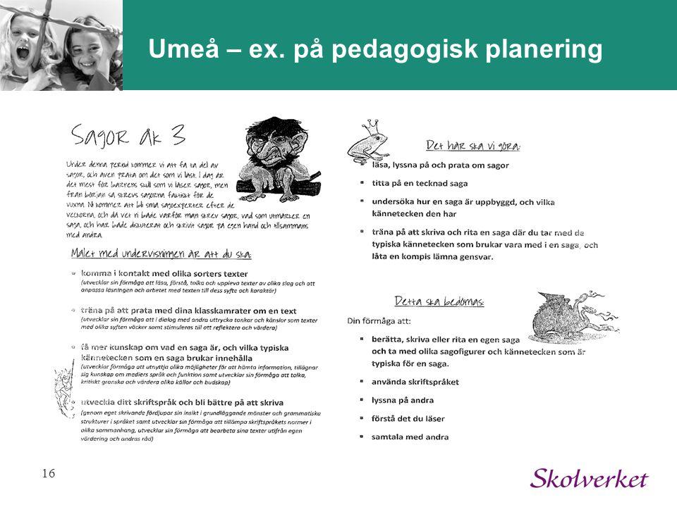 Umeå – ex. på pedagogisk planering