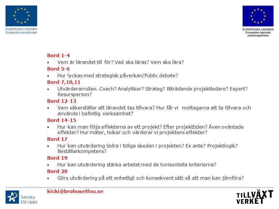Bord 1-4 Vem är lärandet till för Vad ska läras Vem ska lära Bord 5-6. Hur lyckas med strategisk påverkan/Public debate