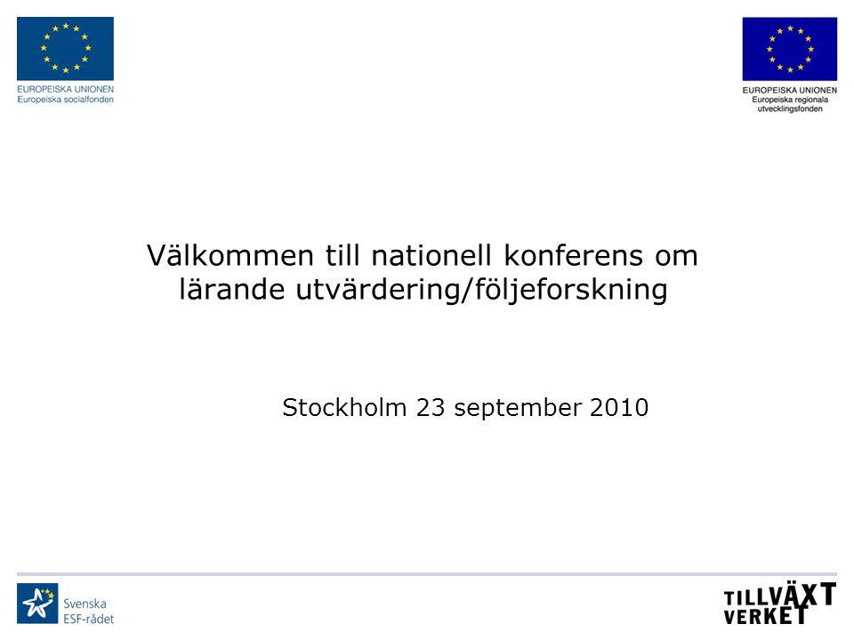 Välkommen till nationell konferens om lärande utvärdering/följeforskning