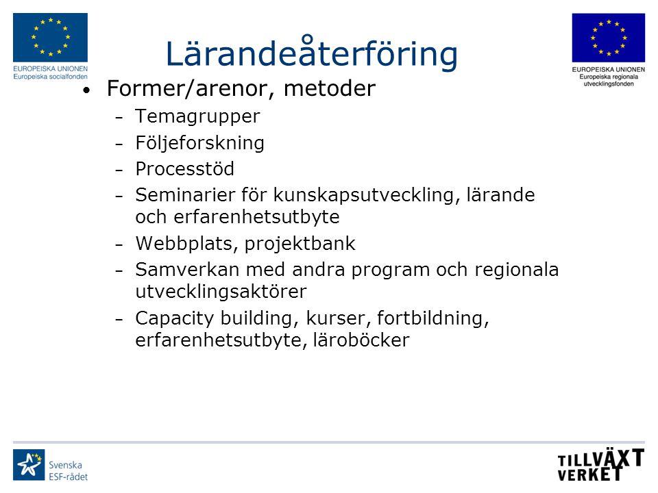 Lärandeåterföring Former/arenor, metoder Temagrupper Följeforskning