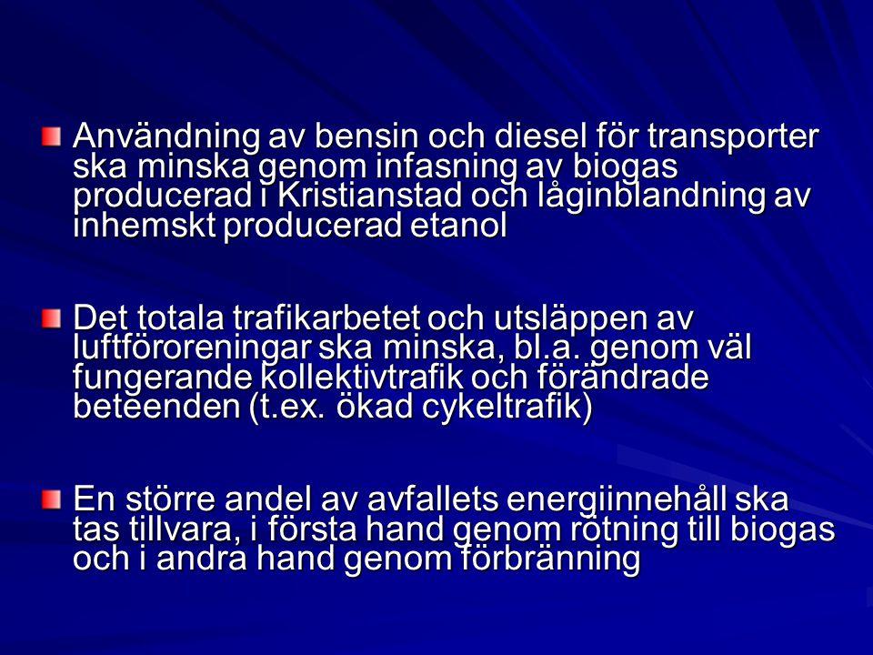Användning av bensin och diesel för transporter ska minska genom infasning av biogas producerad i Kristianstad och låginblandning av inhemskt producerad etanol