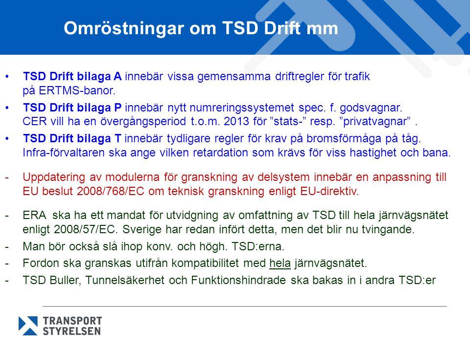 Omröstningar om TSD Drift mm