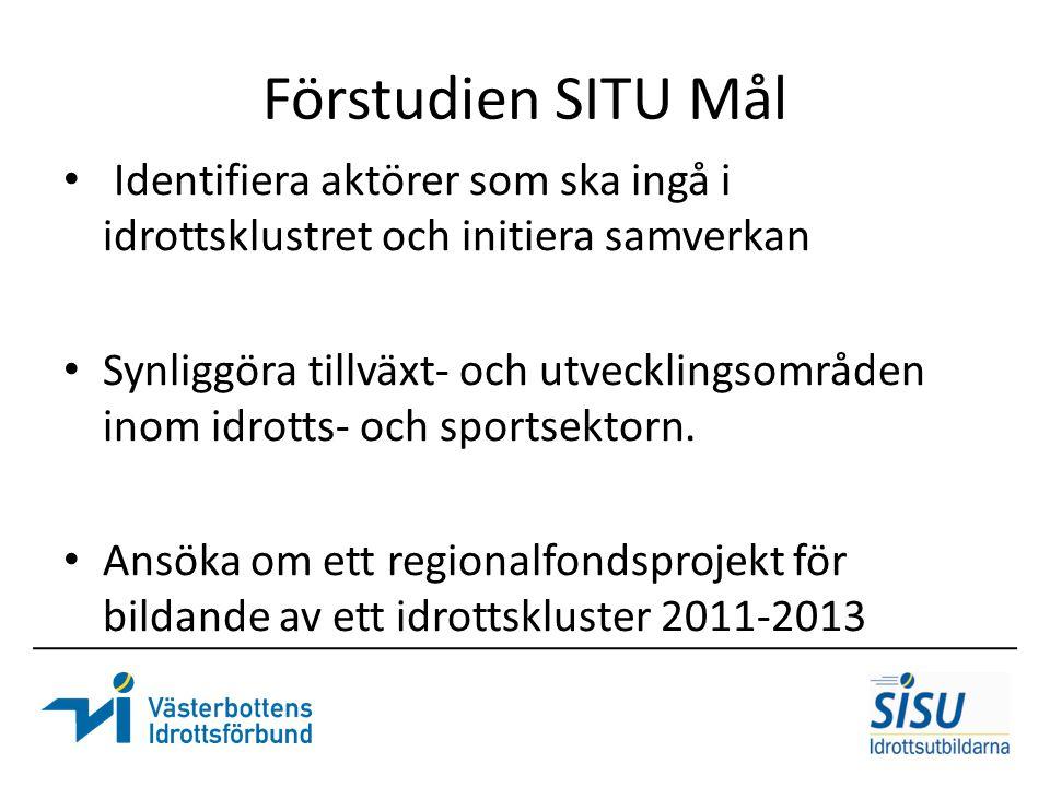 Förstudien SITU Mål Identifiera aktörer som ska ingå i idrottsklustret och initiera samverkan.