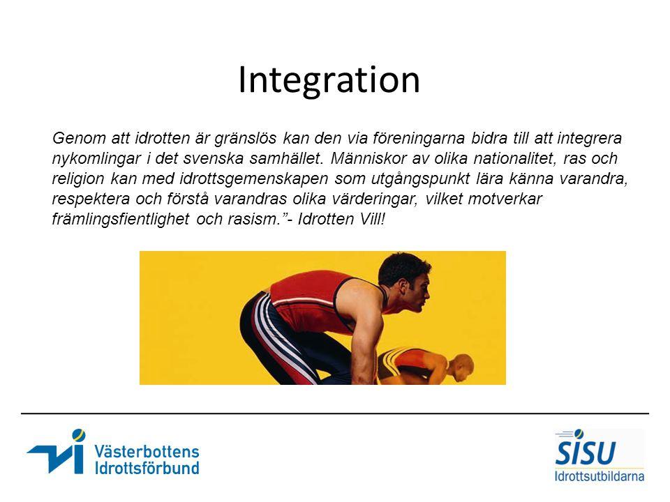Integration Genom att idrotten är gränslös kan den via föreningarna bidra till att integrera.