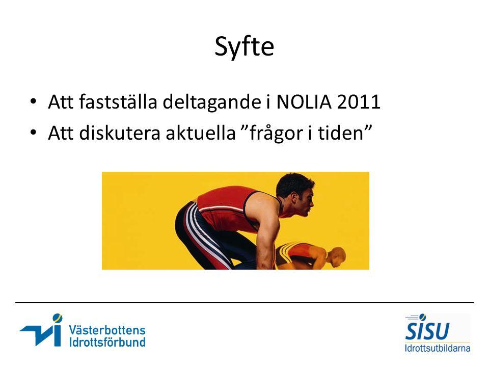 Syfte Att fastställa deltagande i NOLIA 2011