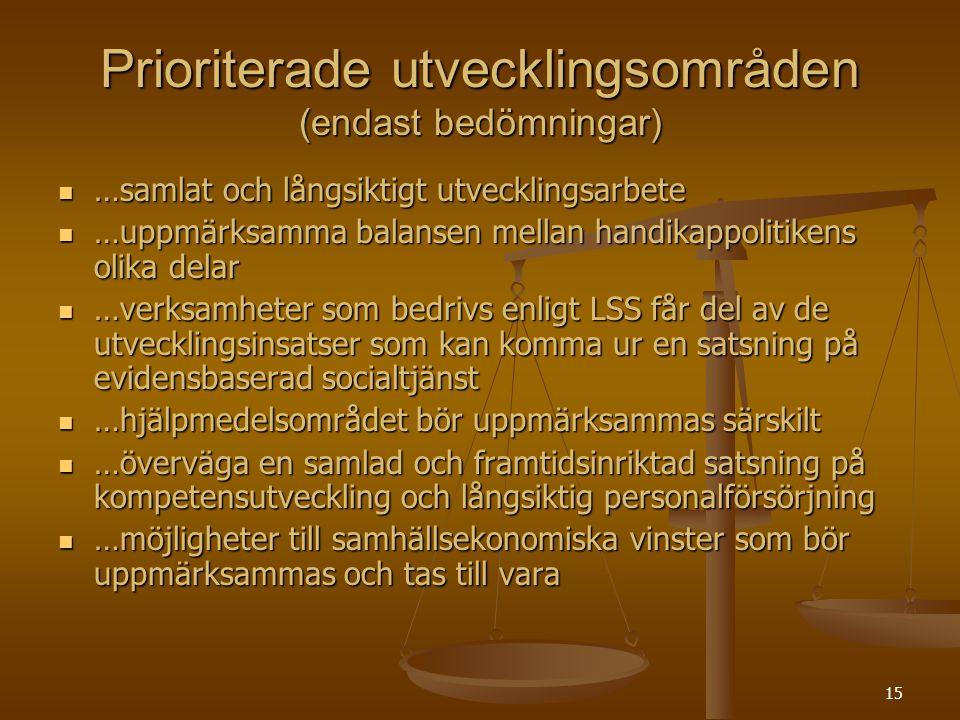 Prioriterade utvecklingsområden (endast bedömningar)