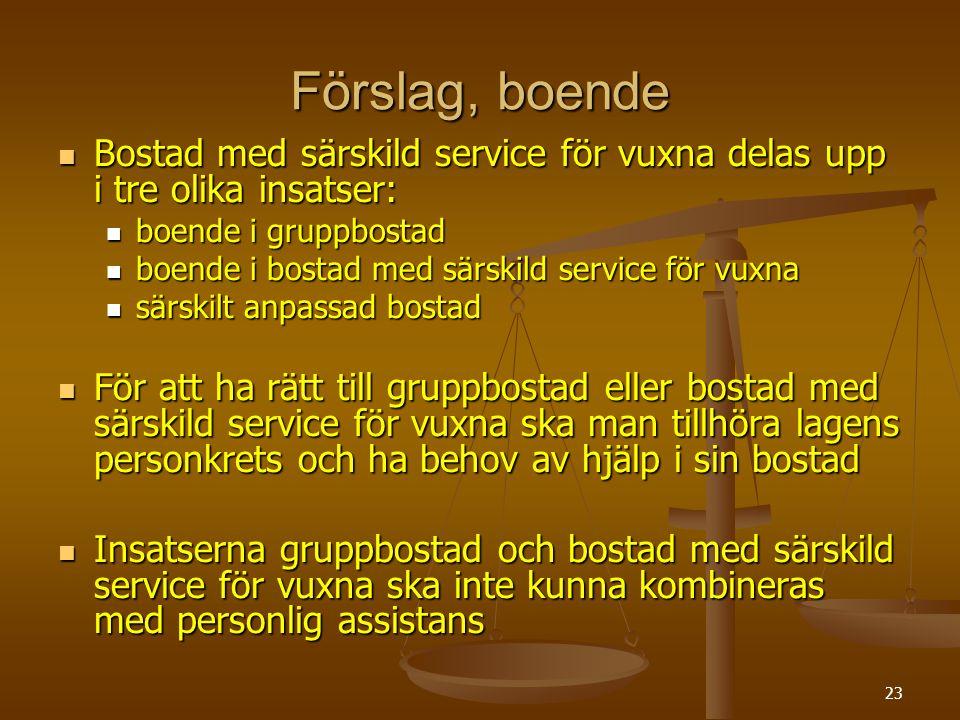 Förslag, boende Bostad med särskild service för vuxna delas upp i tre olika insatser: boende i gruppbostad.