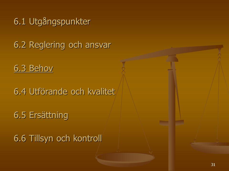 6.1 Utgångspunkter 6.2 Reglering och ansvar. 6.3 Behov. 6.4 Utförande och kvalitet. 6.5 Ersättning.