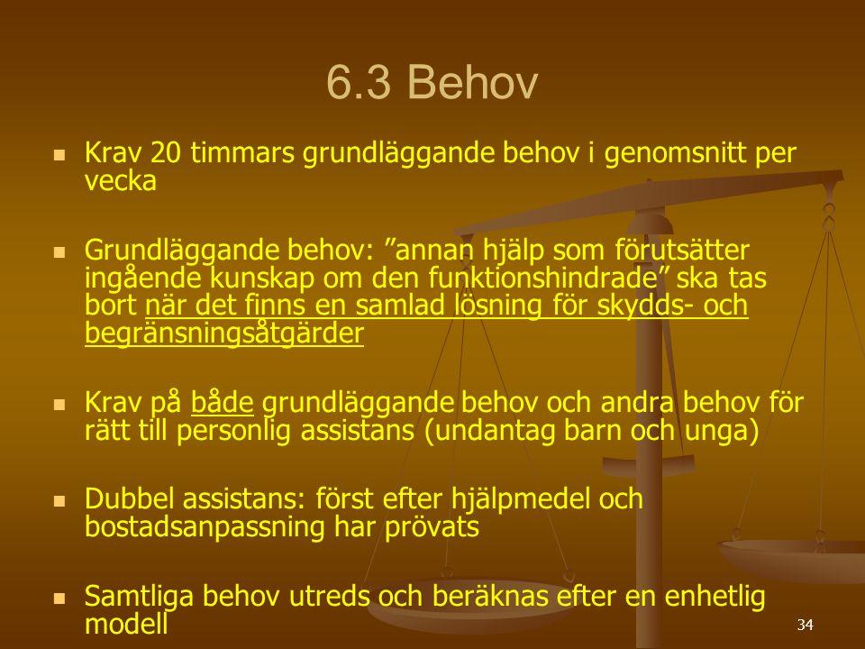 6.3 Behov Krav 20 timmars grundläggande behov i genomsnitt per vecka