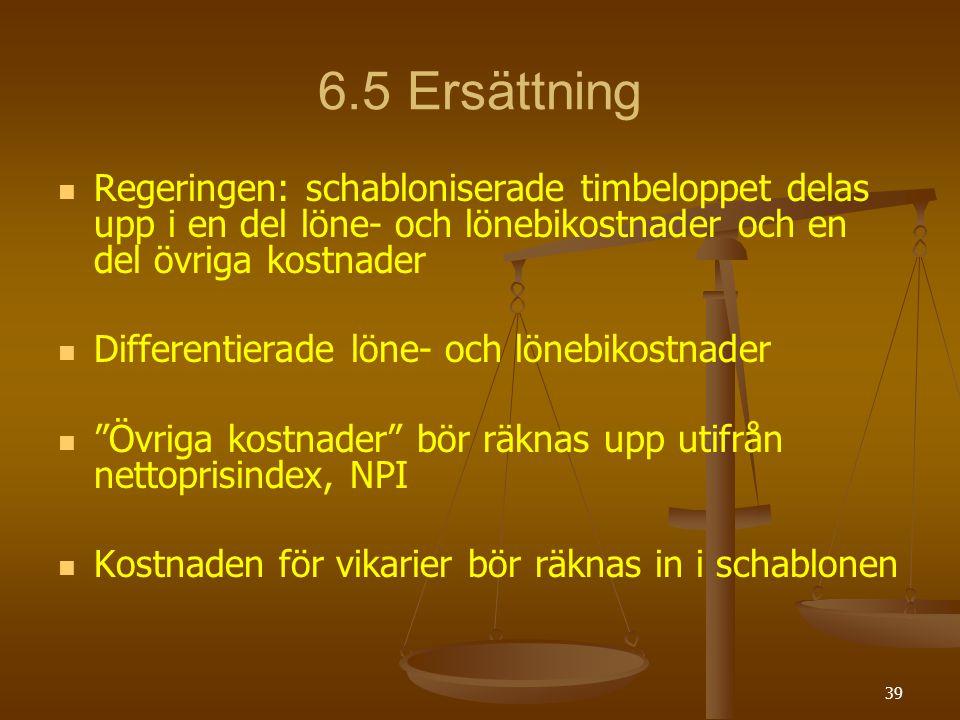 6.5 Ersättning Regeringen: schabloniserade timbeloppet delas upp i en del löne- och lönebikostnader och en del övriga kostnader.