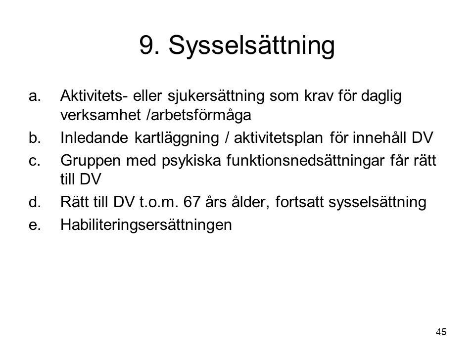 9. Sysselsättning Aktivitets- eller sjukersättning som krav för daglig verksamhet /arbetsförmåga.