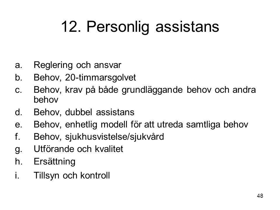 12. Personlig assistans Reglering och ansvar Behov, 20-timmarsgolvet