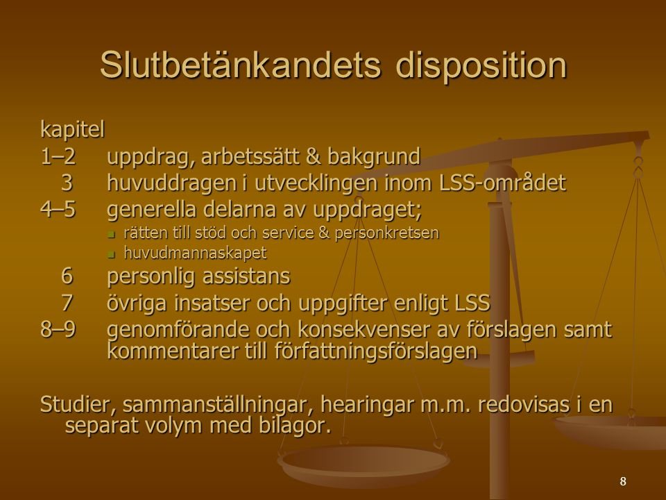 Slutbetänkandets disposition