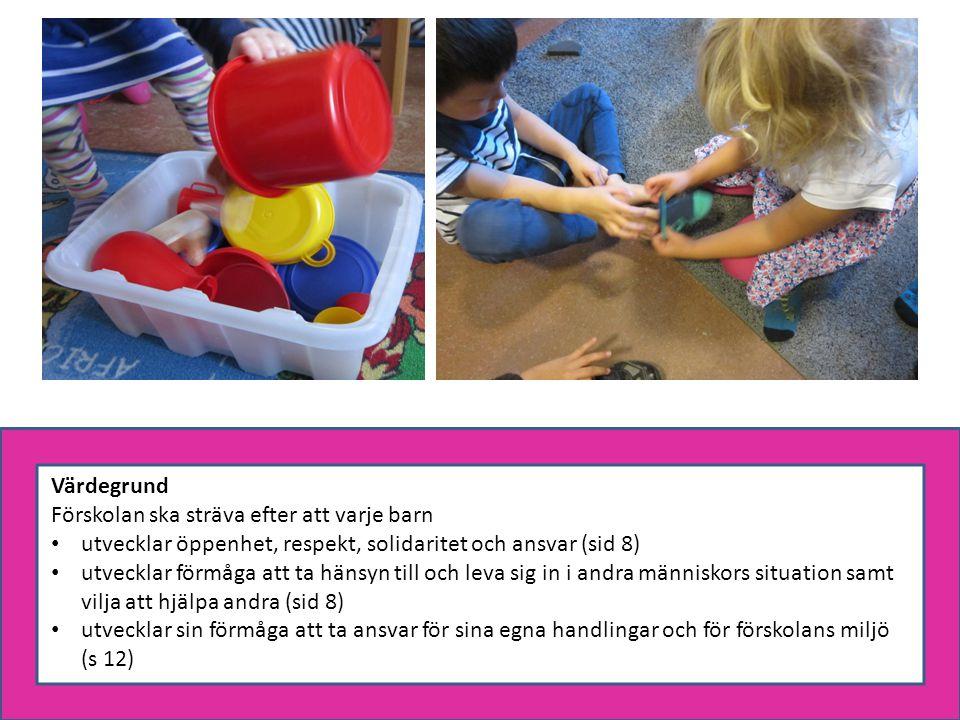 Värdegrund Förskolan ska sträva efter att varje barn. utvecklar öppenhet, respekt, solidaritet och ansvar (sid 8)