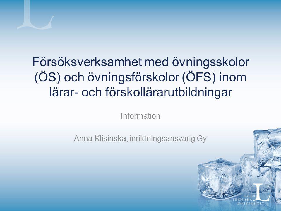 Information Anna Klisinska, inriktningsansvarig Gy