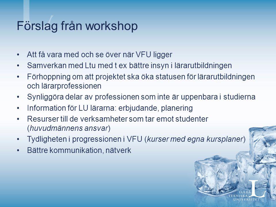 Förslag från workshop Att få vara med och se över när VFU ligger