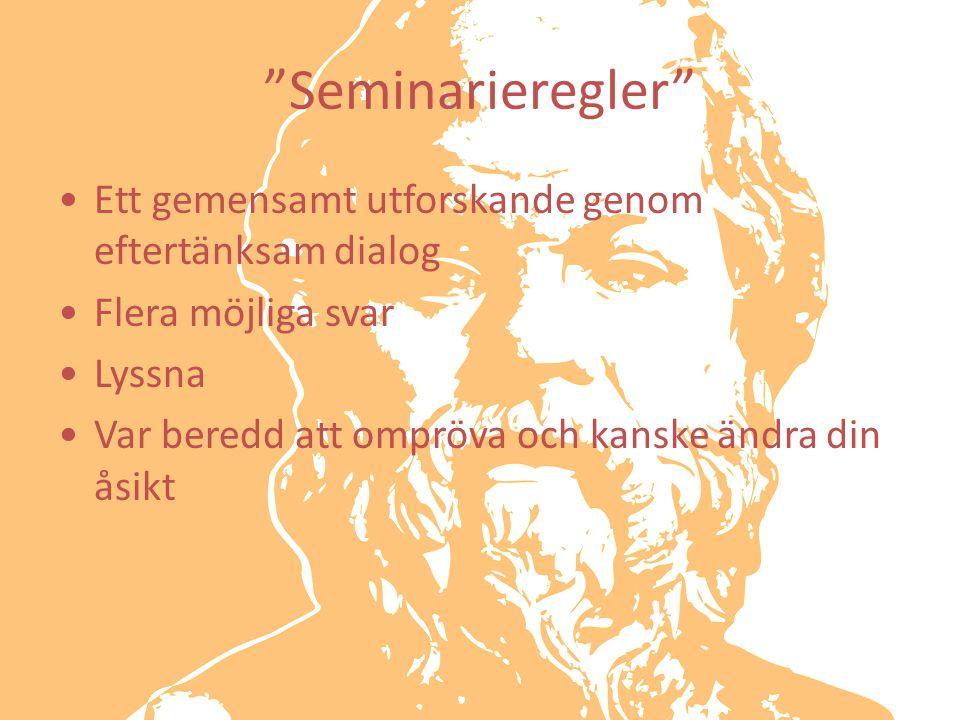 Seminarieregler Ett gemensamt utforskande genom eftertänksam dialog