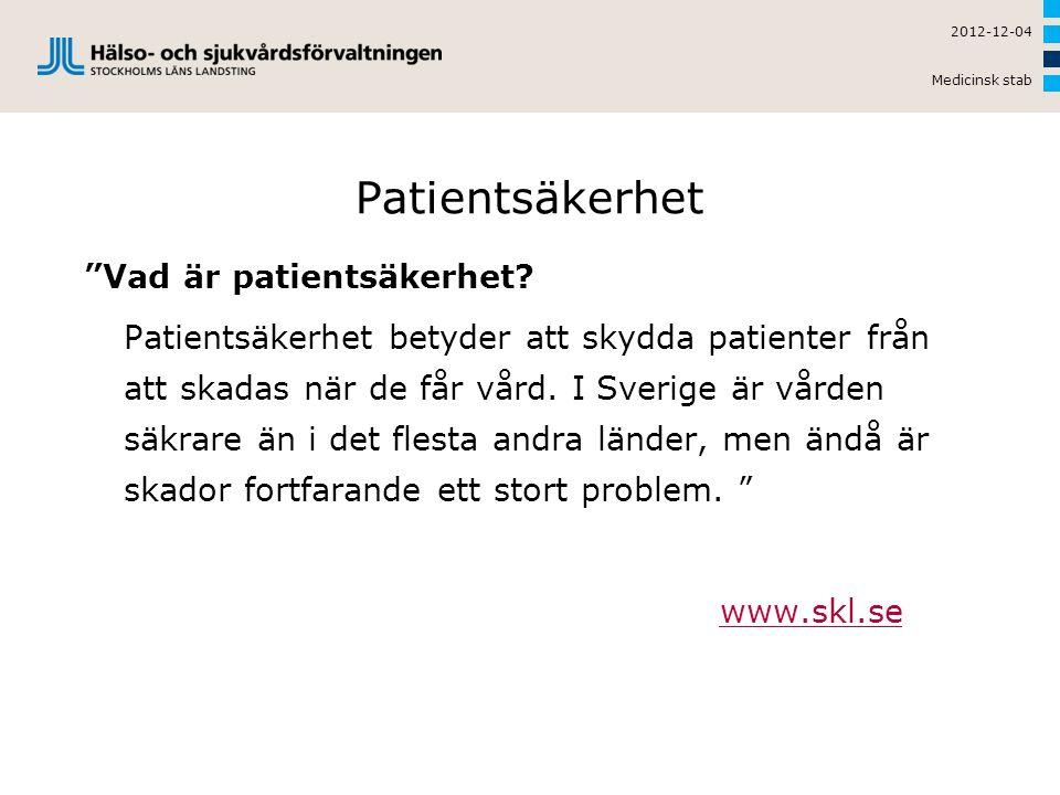 2012-12-04 Medicinsk stab Patientsäkerhet.