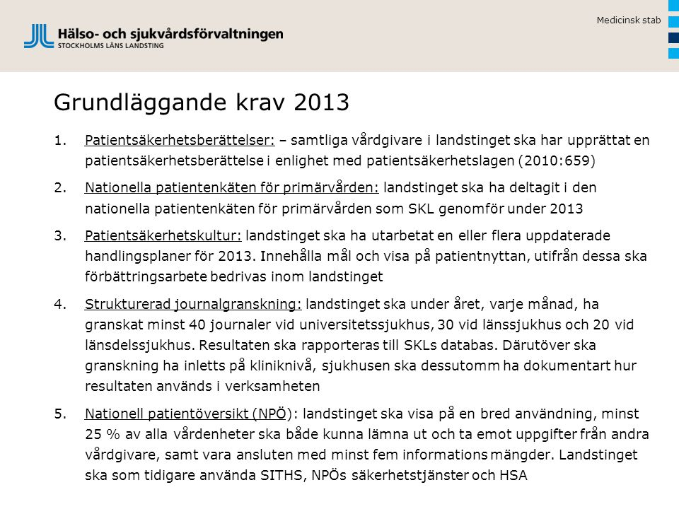 Medicinsk stab Grundläggande krav 2013.