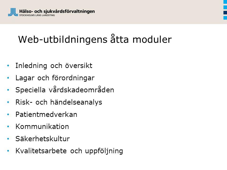 Web-utbildningens åtta moduler