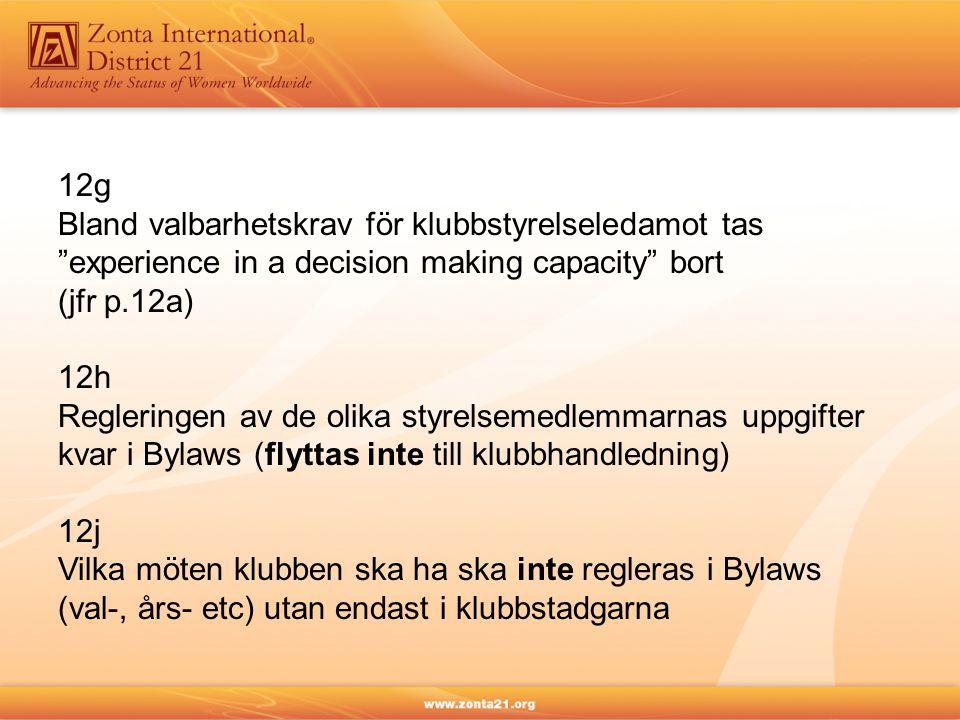 12g Bland valbarhetskrav för klubbstyrelseledamot tas. experience in a decision making capacity bort.