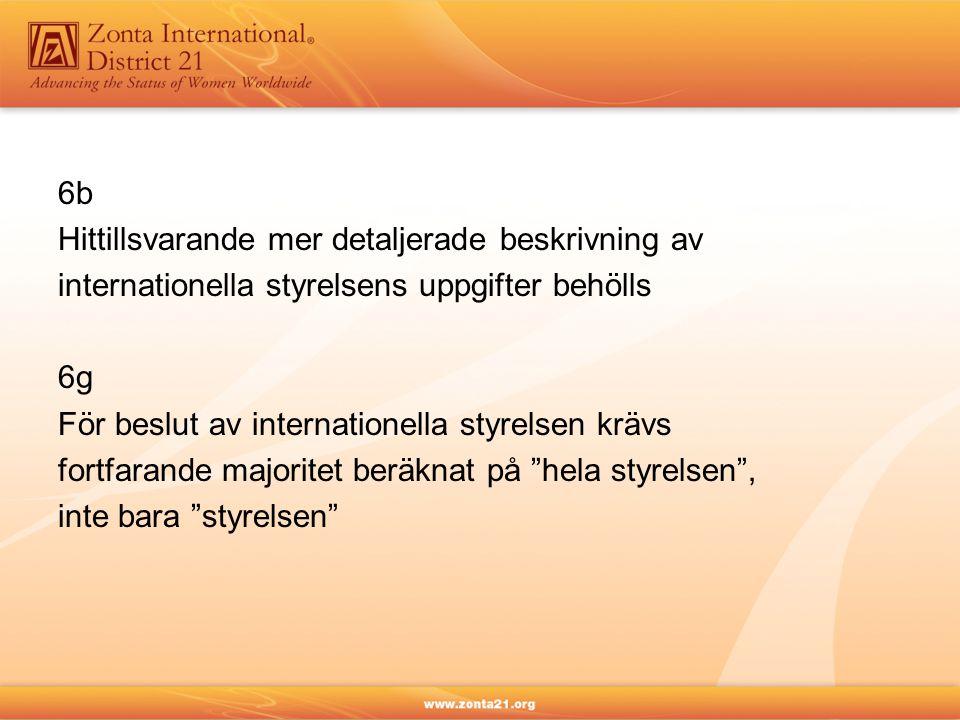 6b Hittillsvarande mer detaljerade beskrivning av. internationella styrelsens uppgifter behölls. 6g.