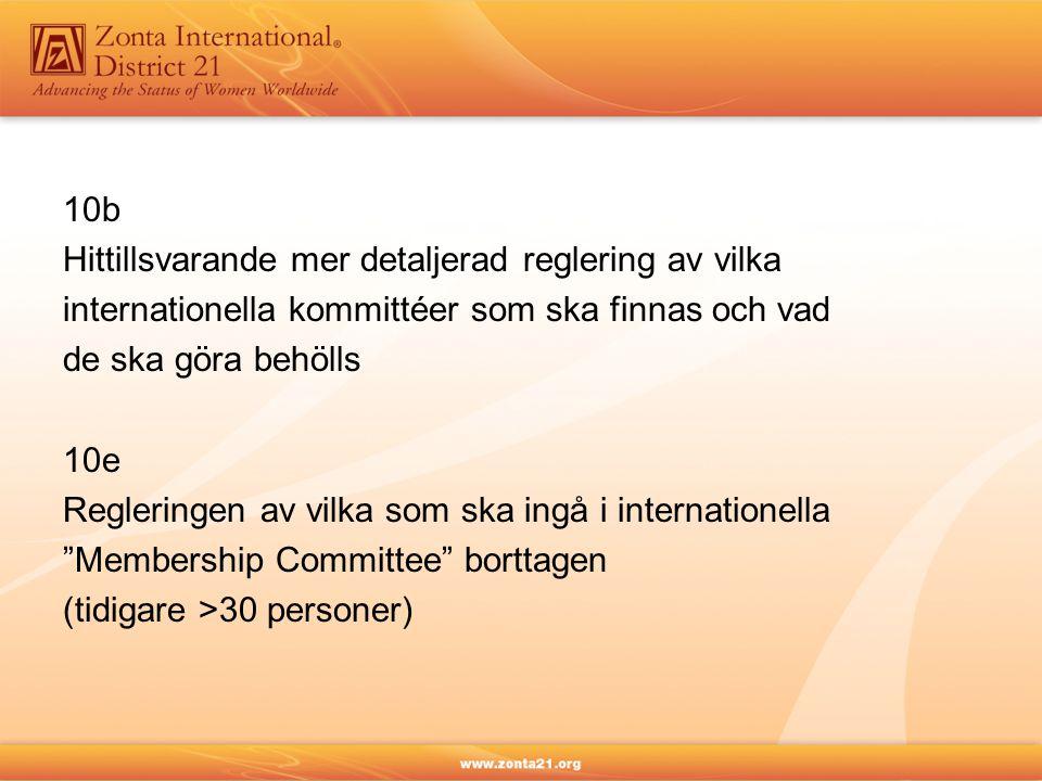 10b Hittillsvarande mer detaljerad reglering av vilka. internationella kommittéer som ska finnas och vad.