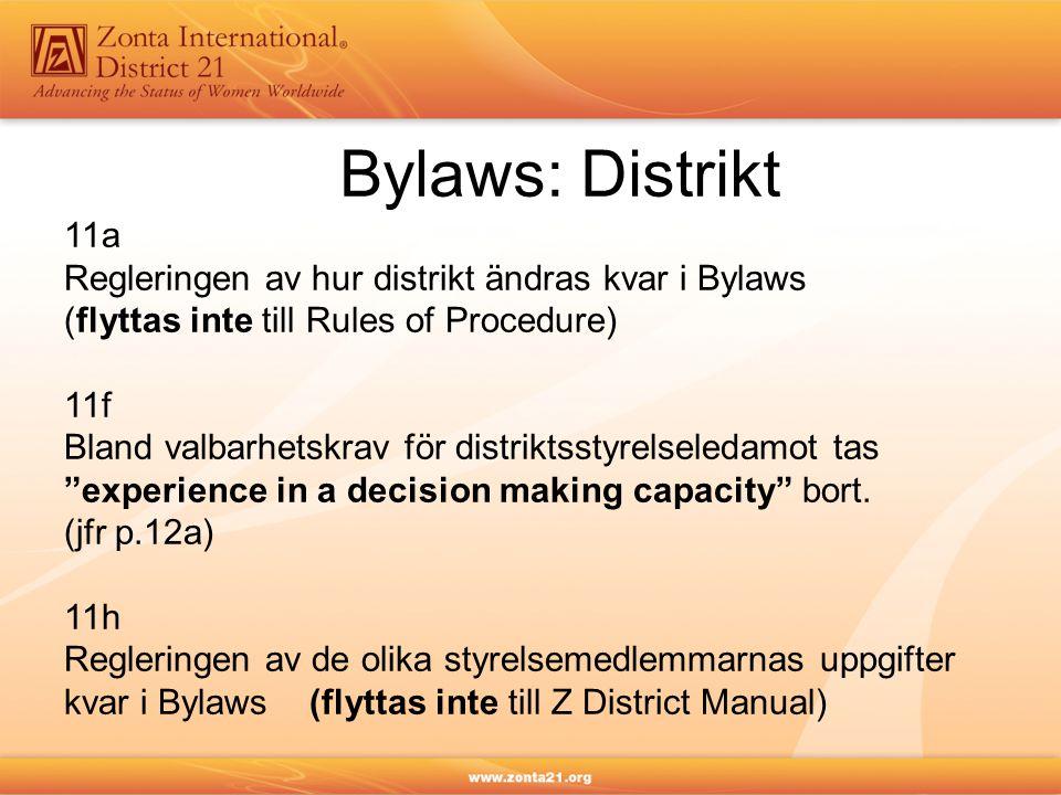 Bylaws: Distrikt 11a Regleringen av hur distrikt ändras kvar i Bylaws