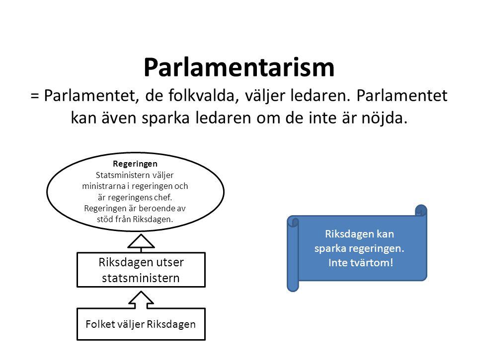 Parlamentarism = Parlamentet, de folkvalda, väljer ledaren
