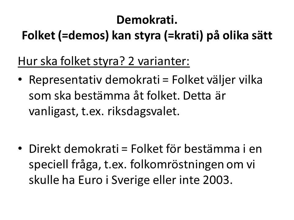 Demokrati. Folket (=demos) kan styra (=krati) på olika sätt