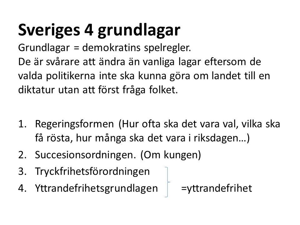 Sveriges 4 grundlagar Grundlagar = demokratins spelregler