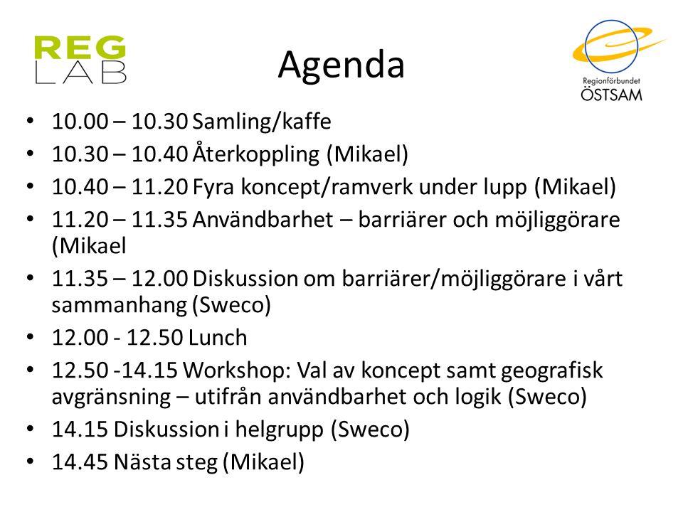 Agenda 10.00 – 10.30 Samling/kaffe 10.30 – 10.40 Återkoppling (Mikael)