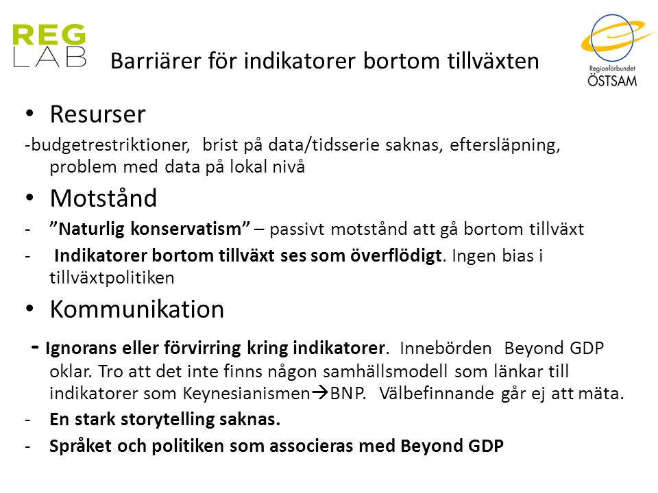 Barriärer för indikatorer bortom tillväxten