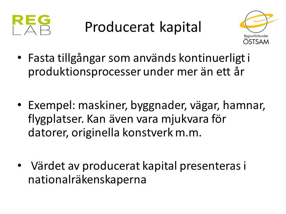 Producerat kapital Fasta tillgångar som används kontinuerligt i produktionsprocesser under mer än ett år.