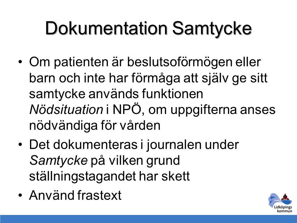 Dokumentation Samtycke