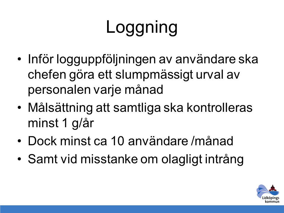Loggning Inför logguppföljningen av användare ska chefen göra ett slumpmässigt urval av personalen varje månad.