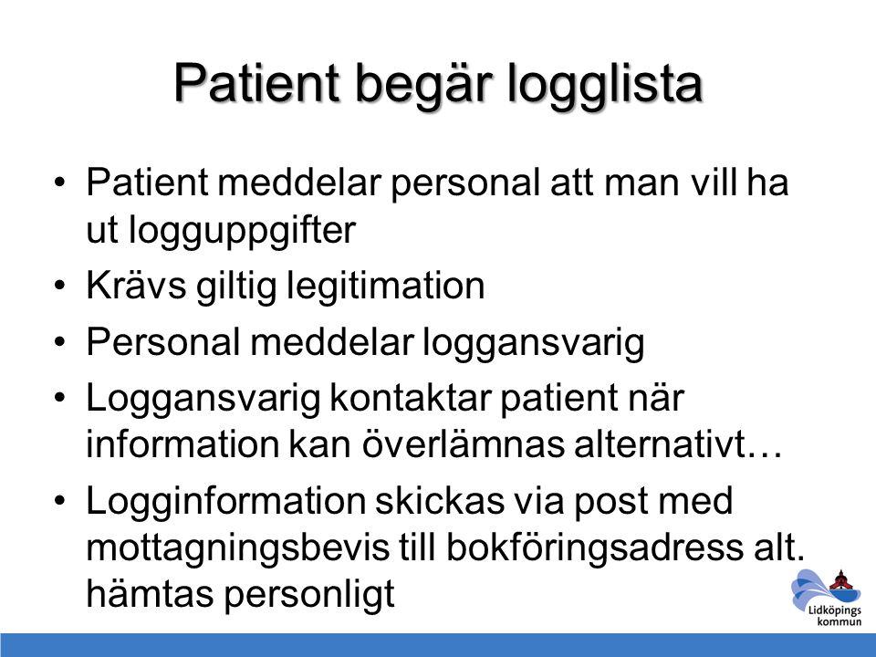 Patient begär logglista